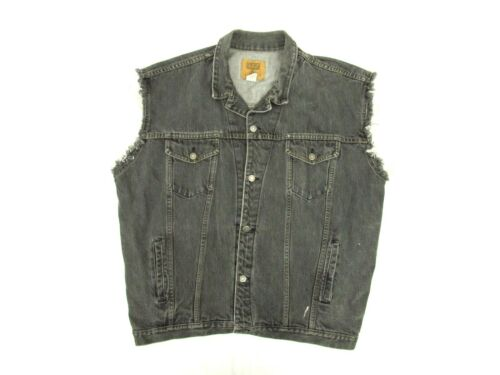 Vintage Gap Mens Black Denim Frayed Vest Biker Button USA Cotton