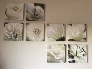 8 floral canvas wall art square panels