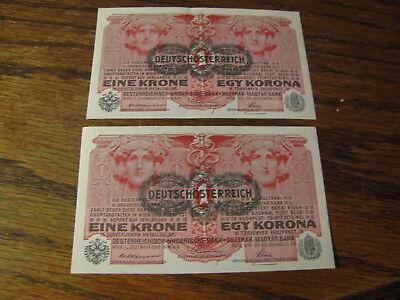 2 1916 Austria 1 Korona Bank Notes   Great Shape    Lot# HC M