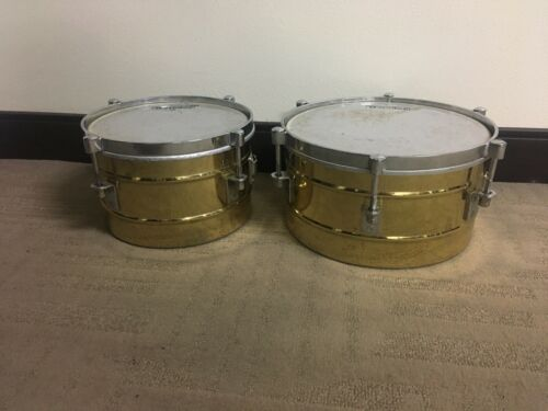 """Latin Percussion LP Small Brass Timbale 12"""" & 10"""" Drums Timbalitos"""