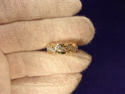 SUPER RARE NOS N/M COND VTG ANTIQUE 10K GOLD FILLED RHINESTONE WEDDING BAND RING