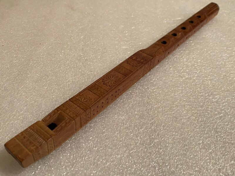 "Vintage Hand Carved Wooden Flute Beautiful Designs Instrument 12 1/2"""