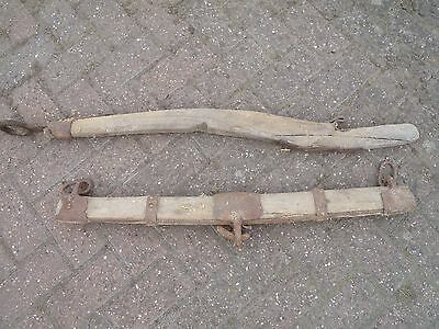 VINTAGE  WOODen  & iron original Cart  about 1 m long wood metal