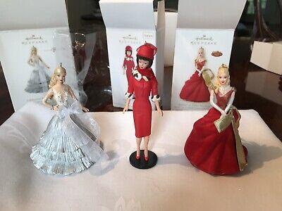3 Hallmark Keepsake Barbie Holiday Christmas Ornaments NIB 2008 2013
