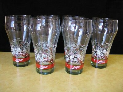 Libby COCA COLA Christmas Holiday Pinecone Design Set of 6 Drinking Glasses(A77)