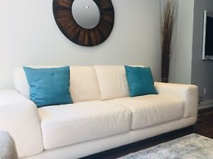 MOVING SALE: Natuzzi white soft leather couch