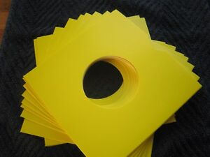 10 YELLOW CARD 7 INCH RECORD SLEEVES U.K. MADE. FREE POSTAGE !!!