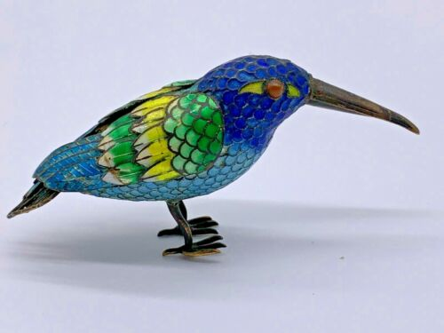 Finely Sterling Enameled Antique Chinese Cloisonne Bird  with Filigree Tail