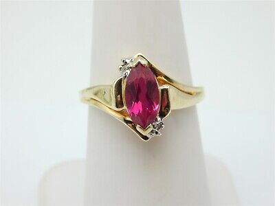 (10K YELLOW GOLD CREATED 1 CARAT MARQUISE RUBY SOLITAIRE RING DIAMOND ACCENTS )