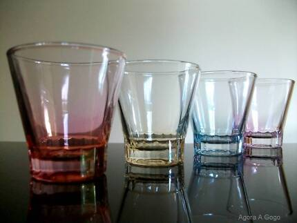 FOUR Vintage Retro HARLEQUIN IRIDESCENT Shot Glasses SHABBY CHIC