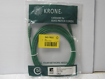 KRONE UTP MOLDED BOOT PATCH CORD 7063 2 614-10 342-7622 3METER CAT 5E GREEN (Rj 45 Molded Boot Green)