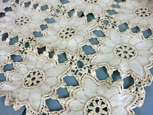 Vintage crochet lace  Runner in  floral pattern