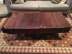 Vintage factory cart coffee table.
