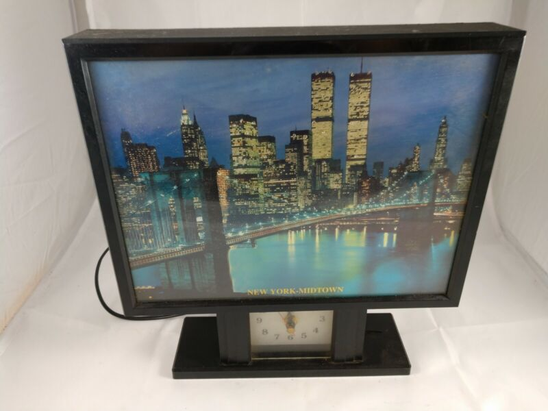 Yirng Skehng New York Midtown Twin Towers Fiber Picture Light With Clock