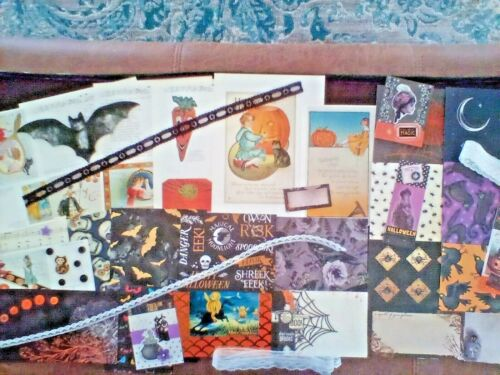 Junk journal supplies, 45 Halloween theme papers, fabric, book pages etc