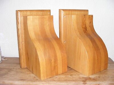 PAIR SOLID OAK CORBELS / SHELF SUPPORTS / BOOK ENDS RECLAMATION PIECES for sale  Swansea