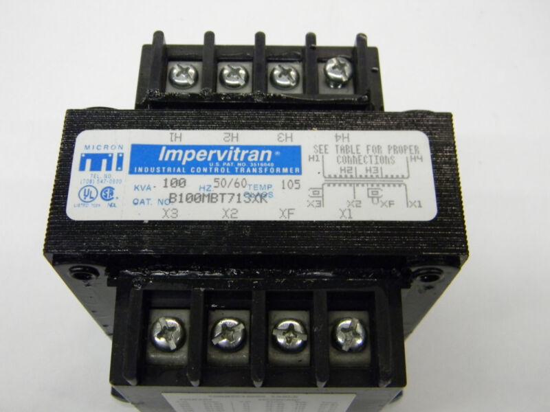 New Micron Impervitran Control Transformer B100MBT71SXK 100kva 200-480/23-120 C4