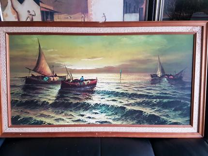 Large vintage timber frame & print