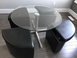 Coffee table with four storage ottoman