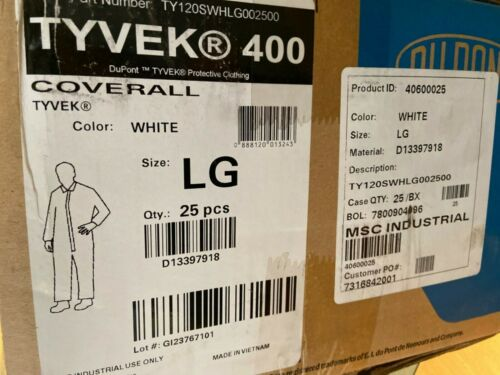 (CASE OF 25) DUPONT TYVEK 400 WHITE COVERALLS, LG, TY120SWHLG002500