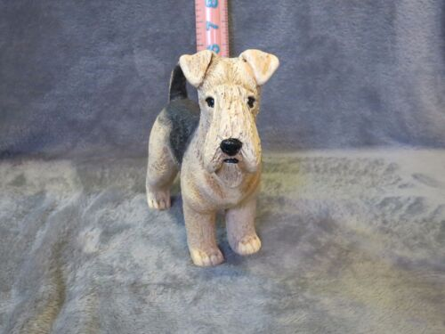 AIREDALE TERRIER PLASTER DOG STATUE HAND CAST AND PAINTED BY T.C. SCHOCH