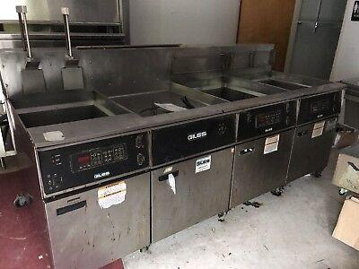 Used Giles 3 Bay Electric Deep Fryer W Dump Station Eof-24 Eof-bib Restaurant
