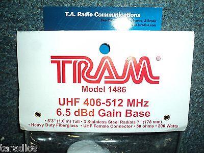 UHF Land Mobile BASE ANTENNA Heavy Duty Fiberglass 6.5db Gain Bracket Tram 1486  Land Mobile Base