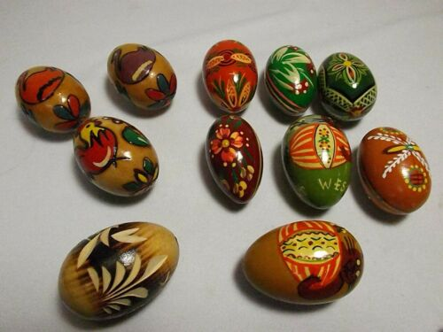 Vintage 11 Wood  Easter Eggs Flowers Hand Painted Wooden EXCELLENT
