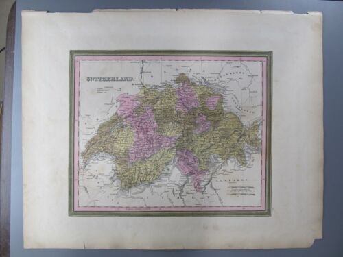 Switzerland, Original Cowperthwaite Hand-Colored Lithograph Map, 1850