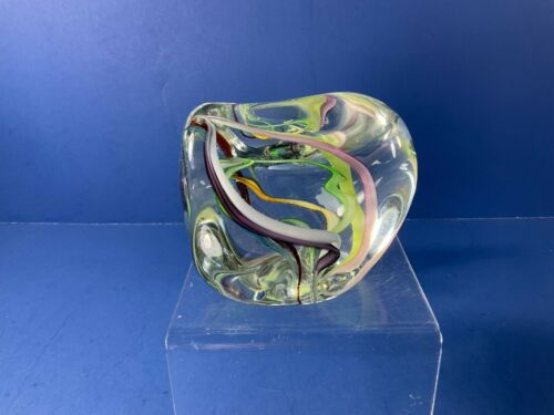 """Vintage Gibson, 3 3/4"""" x 3"""" Tall, Multi-Color Ribbons Paperweight, Art Glass"""