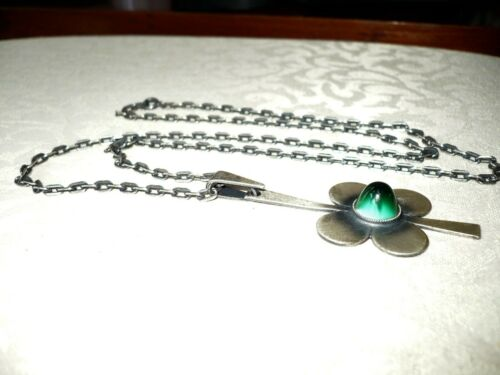 Mid Century Modern Flower Pendant Necklace Silver Finish Signed HVDD Green Glass