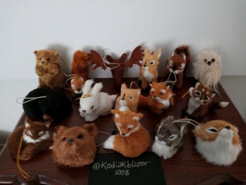 Lot Faux Fur Forest Animals Christmas Ornament Fox Rabbit Deer Bear Owl Squirrel