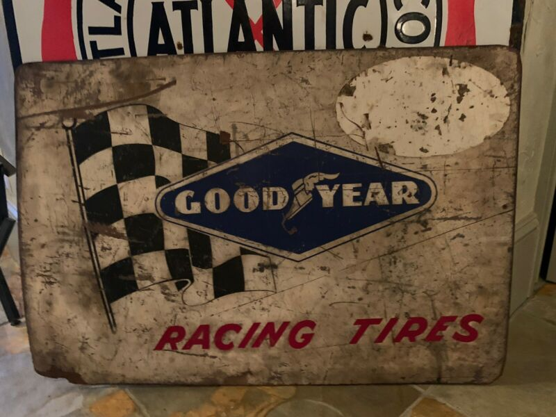 Rare 1950's -60's Good Year Racing Tires Adverting Sign  Measures 24 X 34 Inches