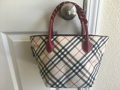 Authentic Burberry London Blue Label Medium Zip Tote Burgundy Check