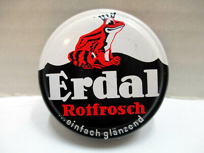 Vintage Erdal Rotfrosch Tree Frog Shoe Polish Tin Made In Germany Circa 1960s