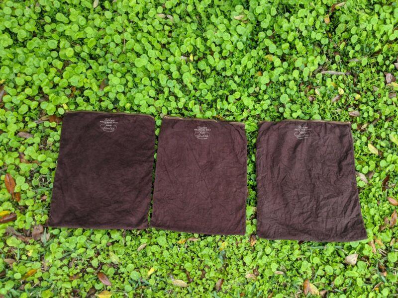 "VTG 3 Naken Holloware Pacific Silver Cloth Zippered Bag Anti Tarnish 16"" X 13"""