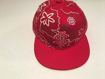 NEW RED Dollar $ Sign Bling Flat Brim Fitted Hat Cap Hip Hop L (7-1/8)
