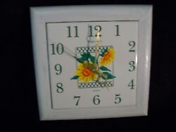 Ingraham Ceramic Mexican Tile Wall Clock Oak Frame Floral Design New Movement