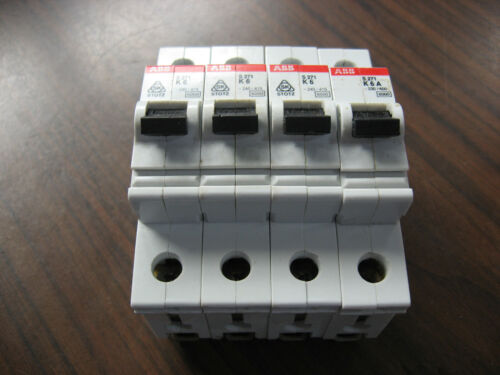 Lot of 4 ABB S271 K6A Circuit Breakers (277/480 VAC, 6 Amp Single Pole)