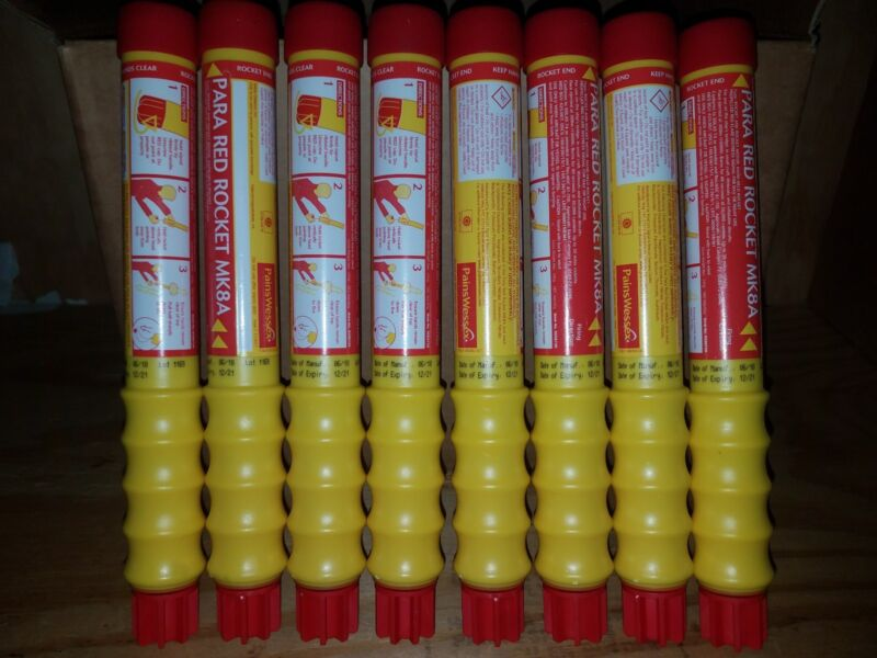 (8) Pains Wessex MK8 Red Parachute Rocket Flare Offshore Marine Outdoors 4/2023