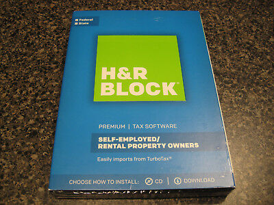 H R Block Premium 2017 Tax Software Self Employed  Rental Property Pc   Mac
