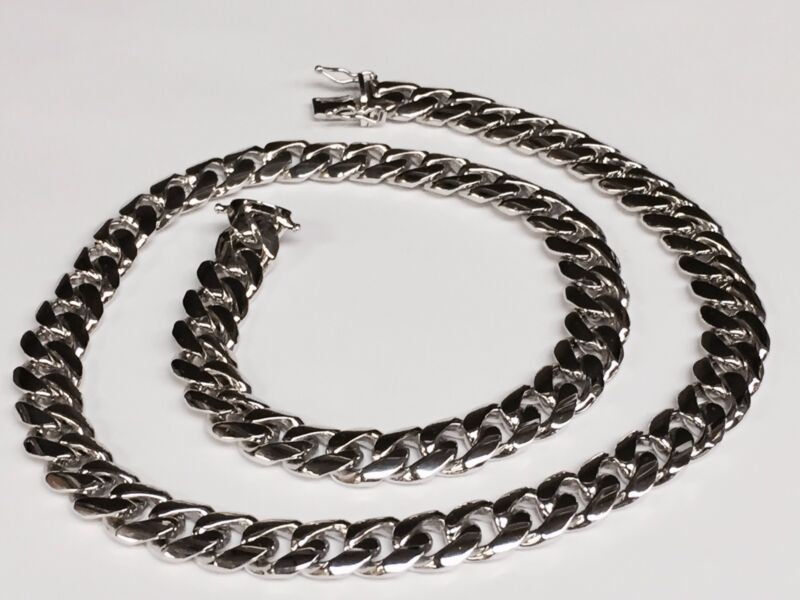 "14k White Gold Miami Cuban Curb Link 20"" 10.5 Mm 133 Grams Chain/necklace"