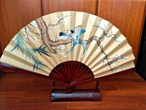 Large Vintage Oriental Bamboo Wall FAN Flowers & Birds with Bamboo Stand