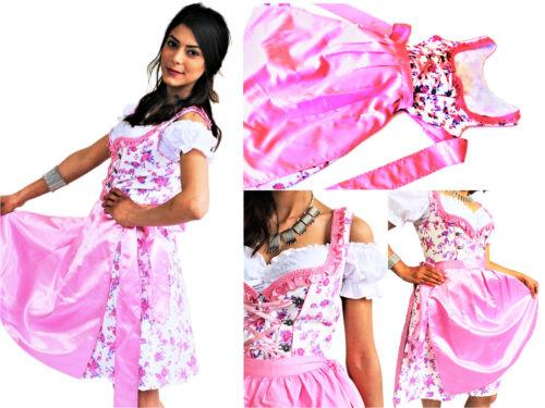 Dirndl 3 tlg. Trachtenkleid Kleid Bluse Schürze Gr. 34 - 42 weiß rosa geblümt