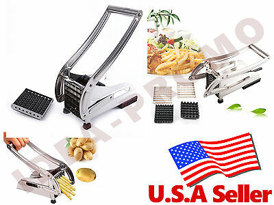 Stainless French Fry Potato Fruit Vegetable Cutter Chopper Dicer Slicer 2 Blades
