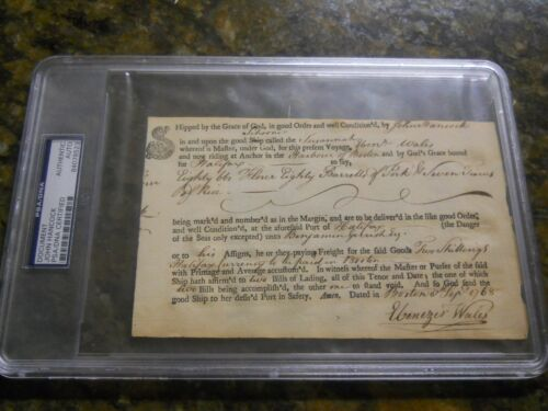 JOHN HANCOCK SIGNED PSA/DNA AUTHENTIC AUTOGRAPH DECLARATION OF INDEPENDENCE