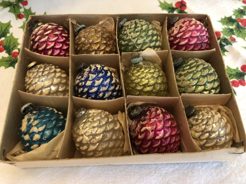 12 Antique Vintage Pine Cone Feather Tree  Frosted Christmas Ornaments Japan