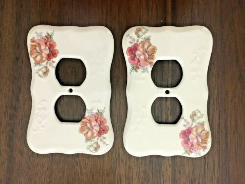VTG LOT 2 Ceramic Porcelain Floral Flower Outlet Cover VB Athena California USA