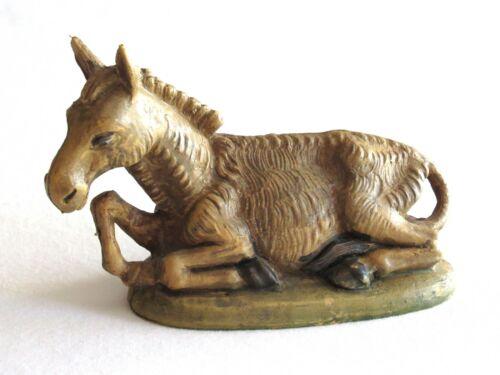 "Vintage Italy Nativity Figurine Figure - Donkey Laying Plastic ~4"" L"