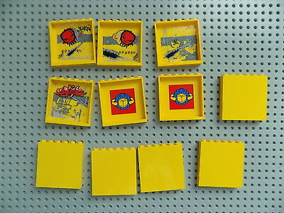LEGO - 1x6x5 Panels Wall Tiles Bulk Smooth Hollow Studs 59349 Lot of 11 Yellow